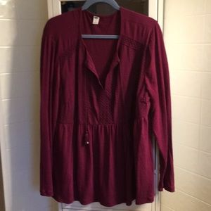 Beautiful cranberry tunic with tassel tie